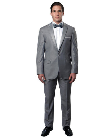 Mens Modern Wool Peak Trim Prom Tuxedo in Light Grey
