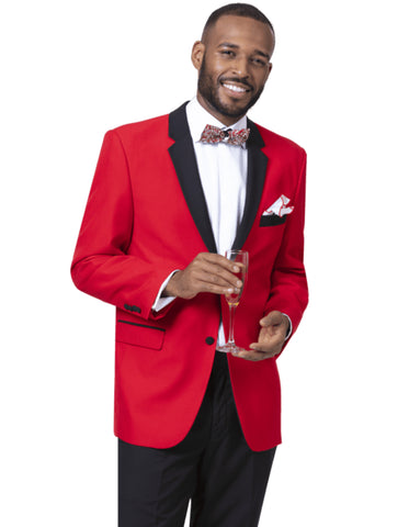 Mens Classic 2 Button Notch Lapel Tuxedo in Red