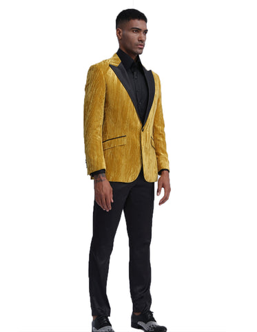 Mens Velvet Smoking Jacket in Gold | Prom