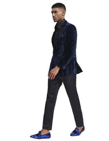 Mens Velvet Smoking Jacket in Navy | Prom