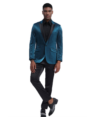 Mens Satin Smoking Jacket in Teal | Prom