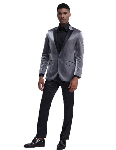 Mens Satin Smoking Jacket in Grey | Prom