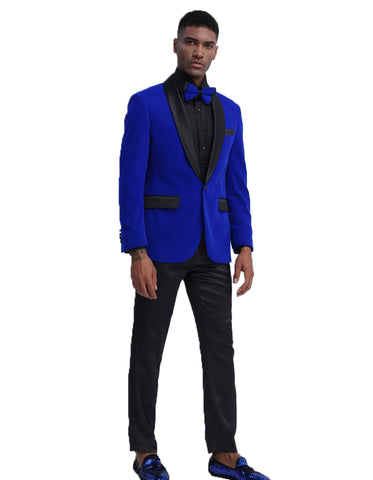 Mens Velvet Shawl Tuxedo Dinner Jacket in Royal Blue