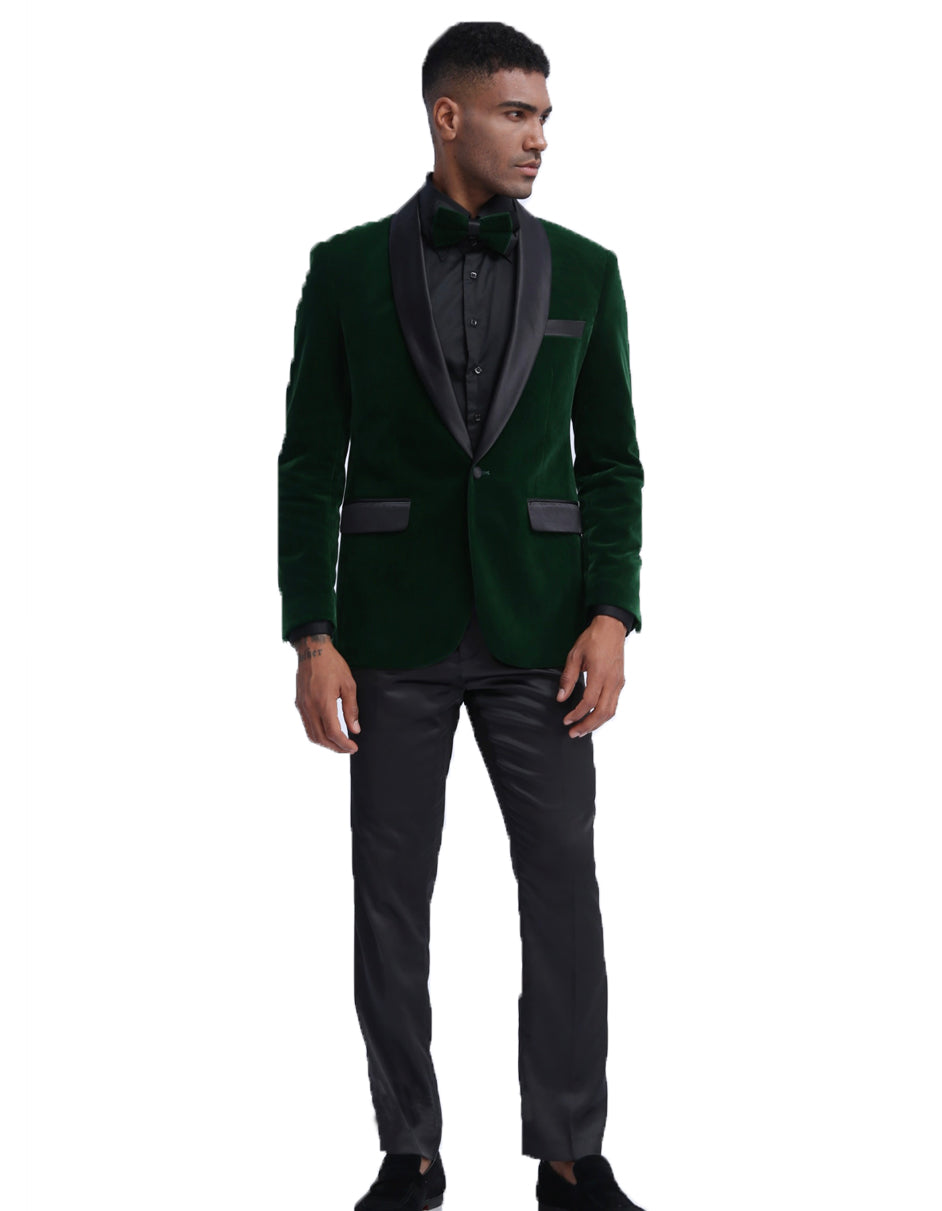 Mens Velvet Shawl Tuxedo Dinner Jacket in Hunter Green
