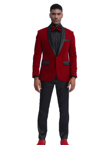 Mens Velvet Shawl Tuxedo Dinner Jacket in Burgundy