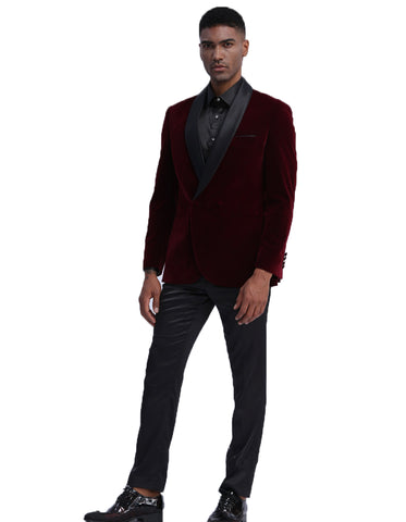 Mens Double Breasted Velvet Smoking Jacket in Burgundy