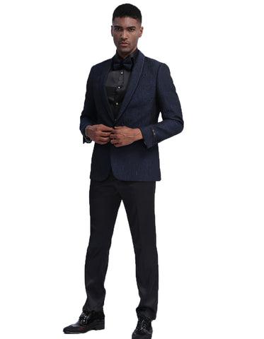 Mens Empire Black Paisley Lace Blazer
