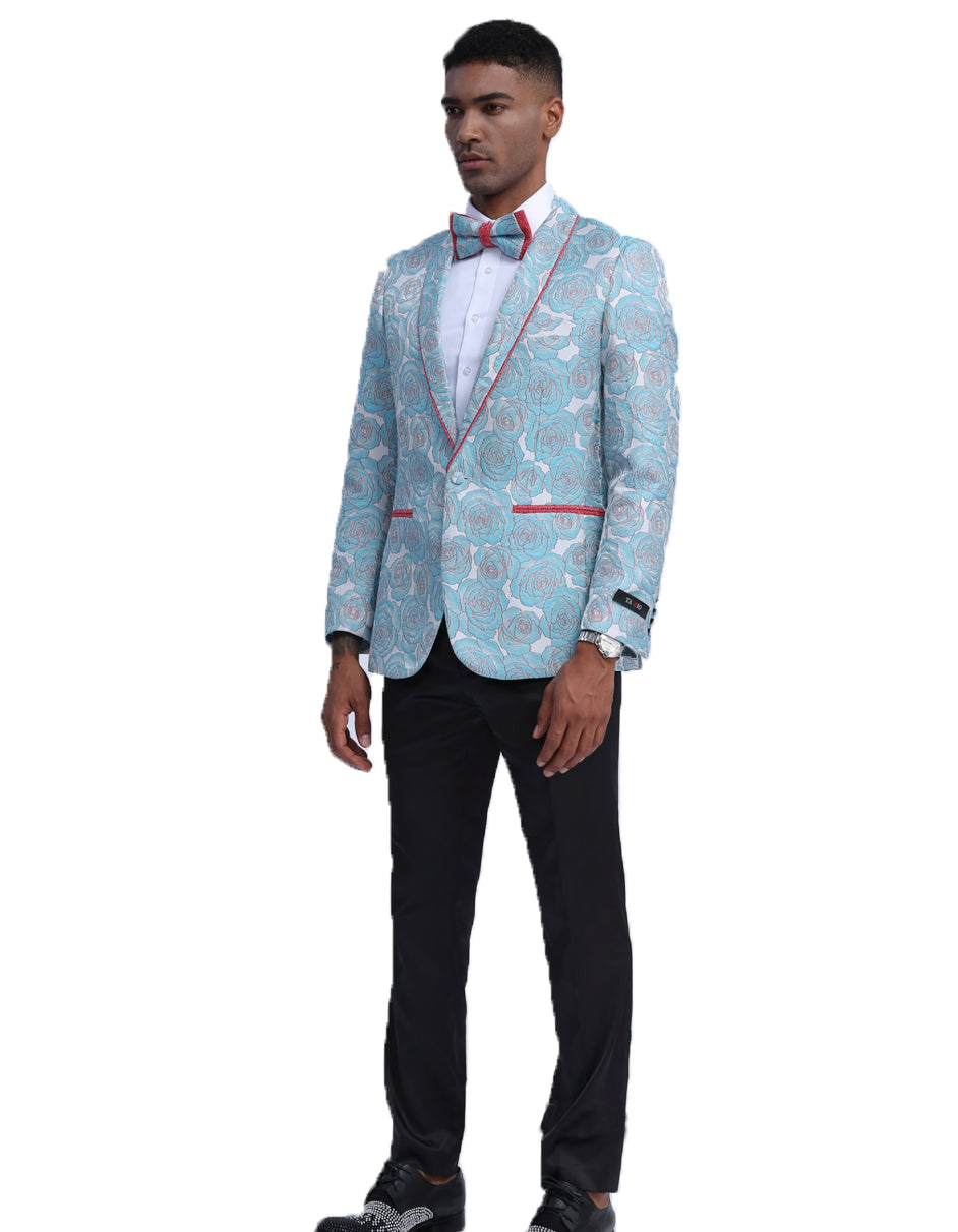 Mens Empire Sky Blue Sparkle Prom Blazer with Red Trim