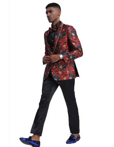 Mens Empire Floral Prom Blazer in Blue & Red