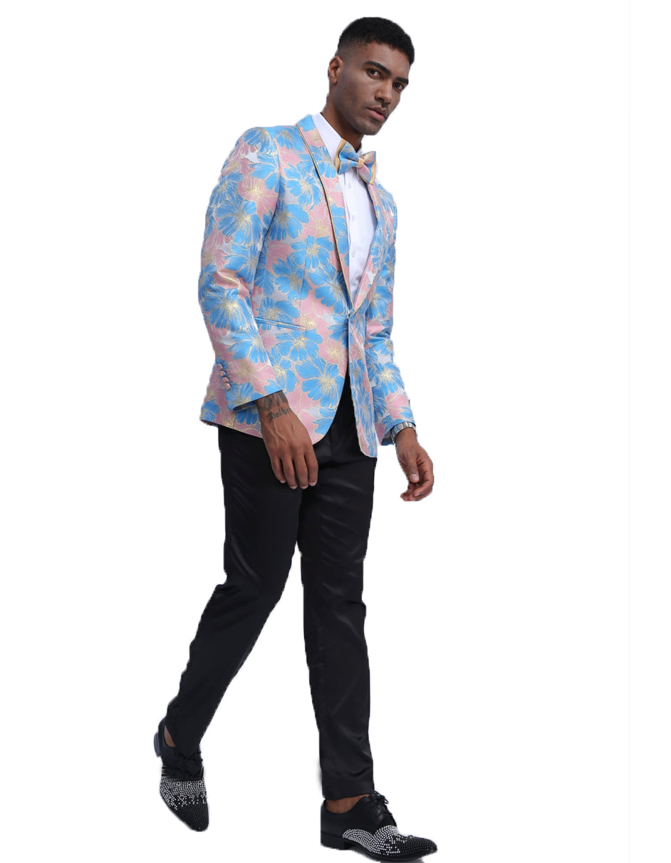 Mens Empire Floral Prom Blazer in Blue & Pink