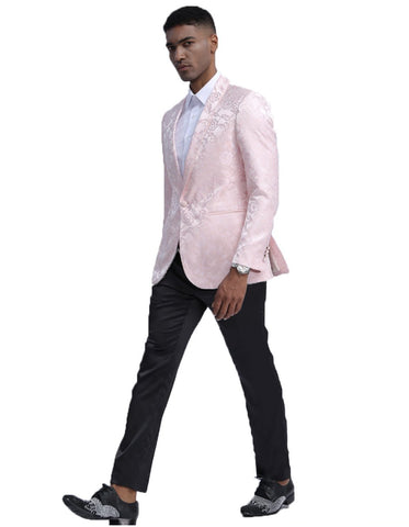Mens Empire Prom Blazer in Pink Floral Pattern