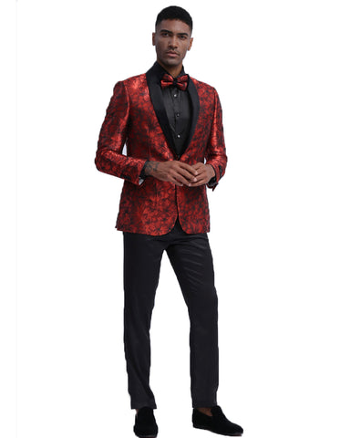 Mens Empire Red Floral Shawl Dinner Jacket