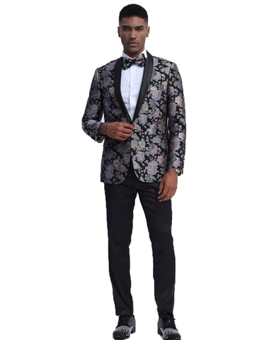 Mens Empire Prom Blazer in Lavender & Black Floral Pattern