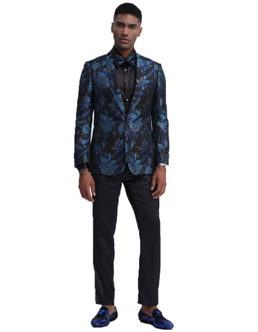 Mens Empire Midnight Blue & Black Floral Prom Tuxedo Jacket