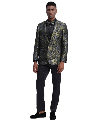 Mens Empire Gold Sparkle Prom Blazer