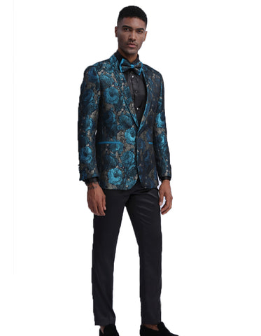 Mens Empire Patterned Blazer in Teal