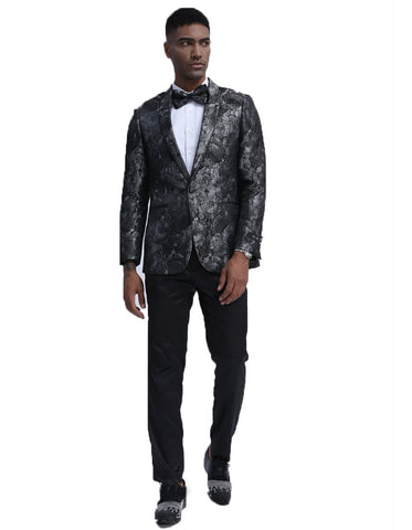 Mens Empire Patterned Blazer in Black & Silver