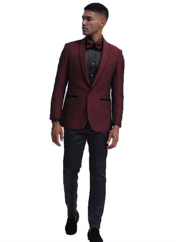 Mens Empire Prom Blazer in Burgundy Lace Fabric