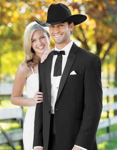 Mens 1 Button Western Cowboy Wedding Tuxedo Black