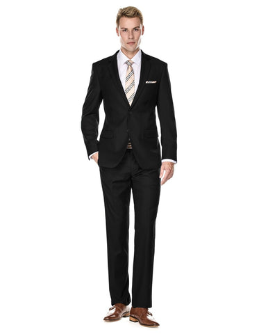 Mens 2 Button Modern Fit Funeral Suit Black