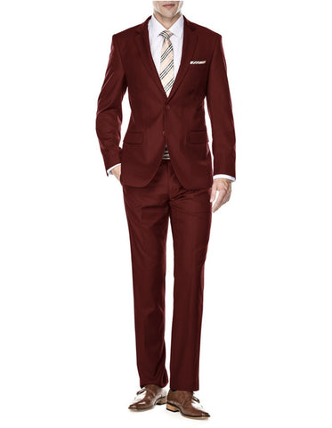 Mens 2 Button Modern Fit Suit Burgundy