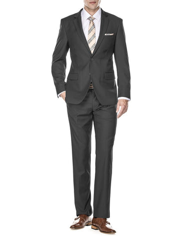 Mens 2 Button Modern Fit Funeral Suit Charcoal Grey