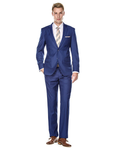 Mens 2 Button Modern Fit Suit Indigo Blue