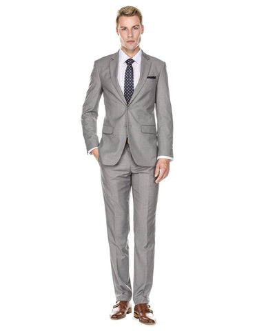 Mens 2 Button Modern Fit Suit Light Grey