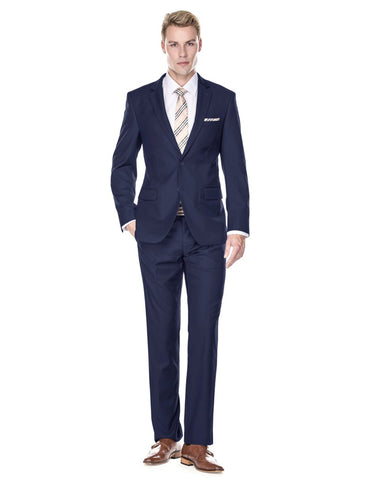 Mens 2 Button Modern Fit Funeral Suit Navy Blue