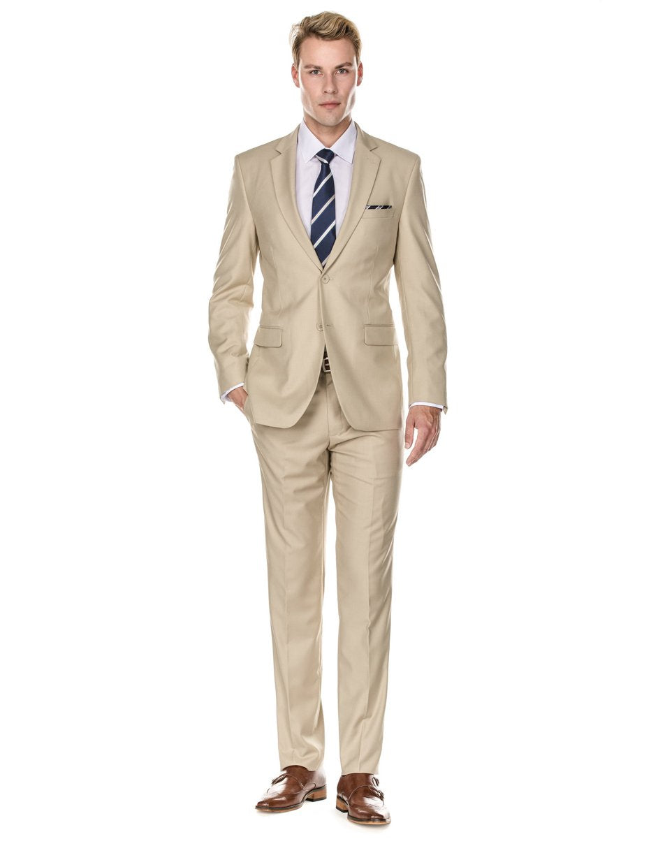 Mens 2 Button Modern Fit Suit Tan