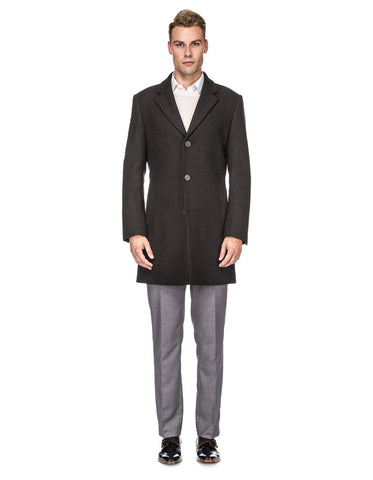 Mens Modern 3 Button Wool Car Coat in Charcoal