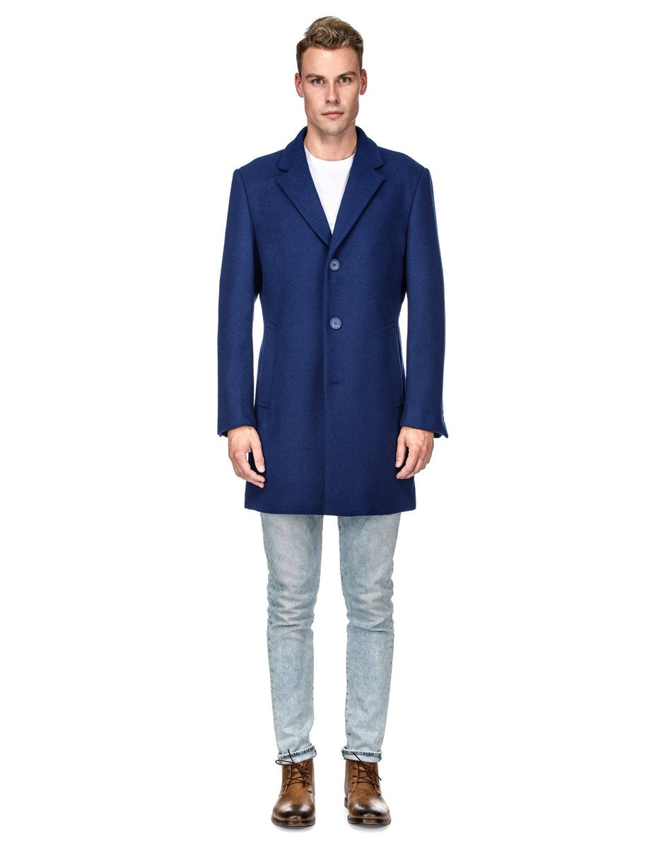 Mens Modern 3 Button Wool Car Coat in Indigo Blue