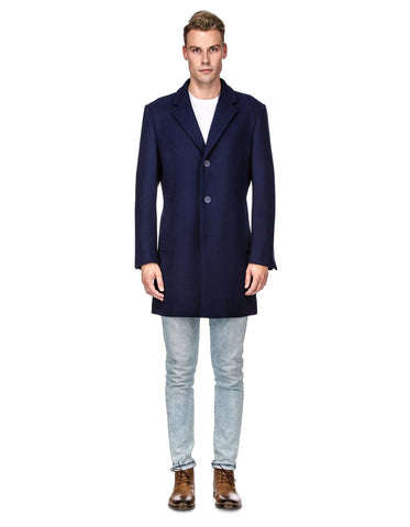 Mens Modern 3 Button Wool Car Coat in Navy Blue