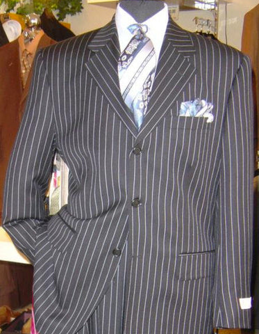 Mens 3 Button Black & White Bold Chalk Pinstripe Gangster suit