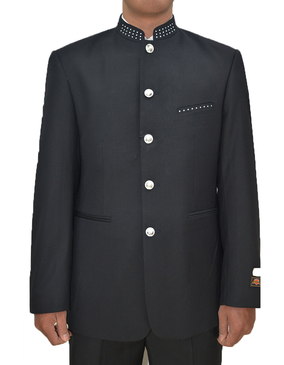 Mens 8 Button Mandarin Collar Tuxedo in Black with Diamond Trim