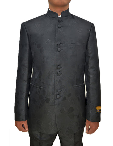 Mens 8 Button Mandarin Collar Tuxedo in Black Paisley