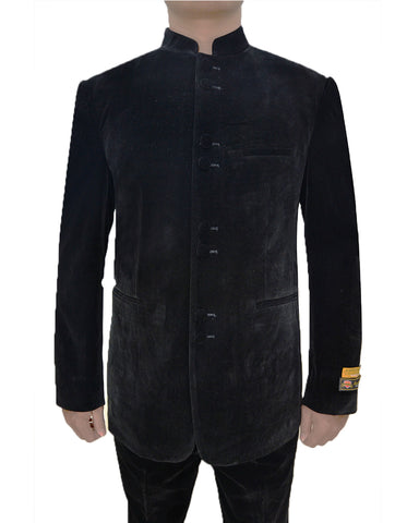 Mens 8 Button Mandarin Collar Tuxedo in Black Velvet