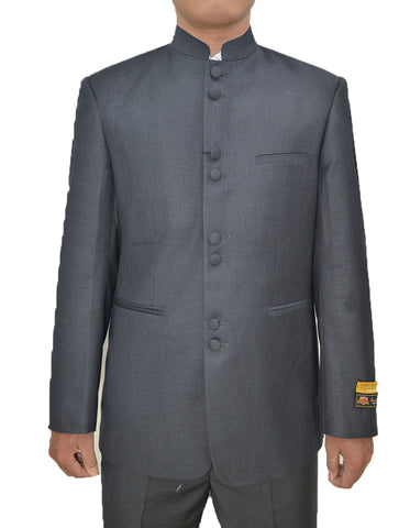 Mens 8 Button Mandarin Collar Tuxedo in Charcoal Grey