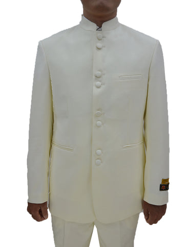 Mens 8 Button Mandarin Collar Tuxedo in Ivory