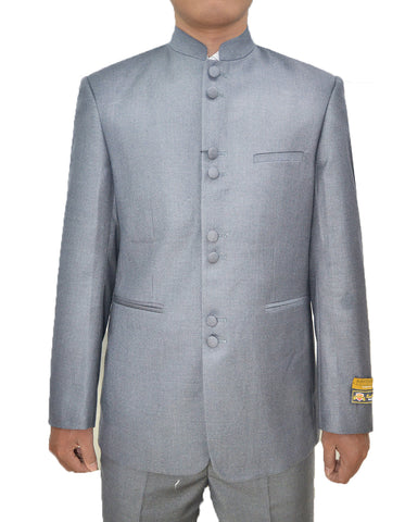 Mens 8 Button Mandarin Collar Tuxedo in Light Grey