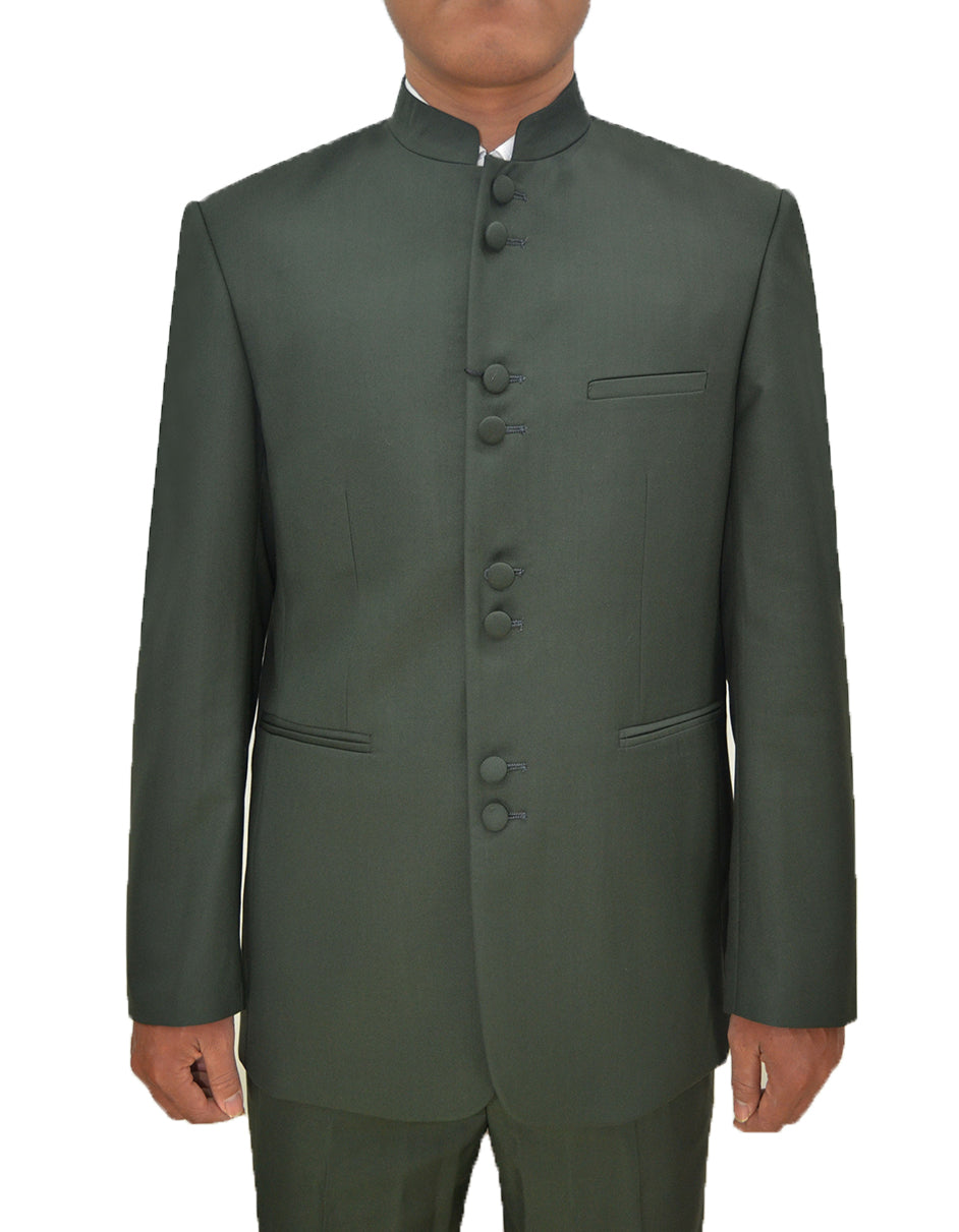 Mens 8 Button Mandarin Collar Tuxedo in Olive Green