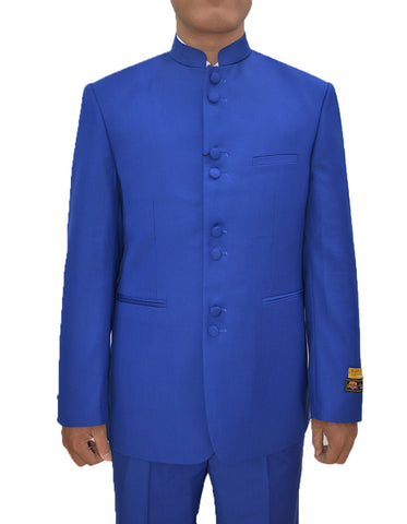 Mens 8 Button Mandarin Collar Tuxedo in Royal Blue