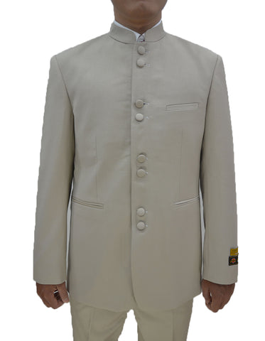 Mens 8 Button Mandarin Collar Tuxedo in Tan