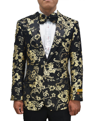 Mens Ornate Floral Dinner Jacket Blazer in Gold & Black