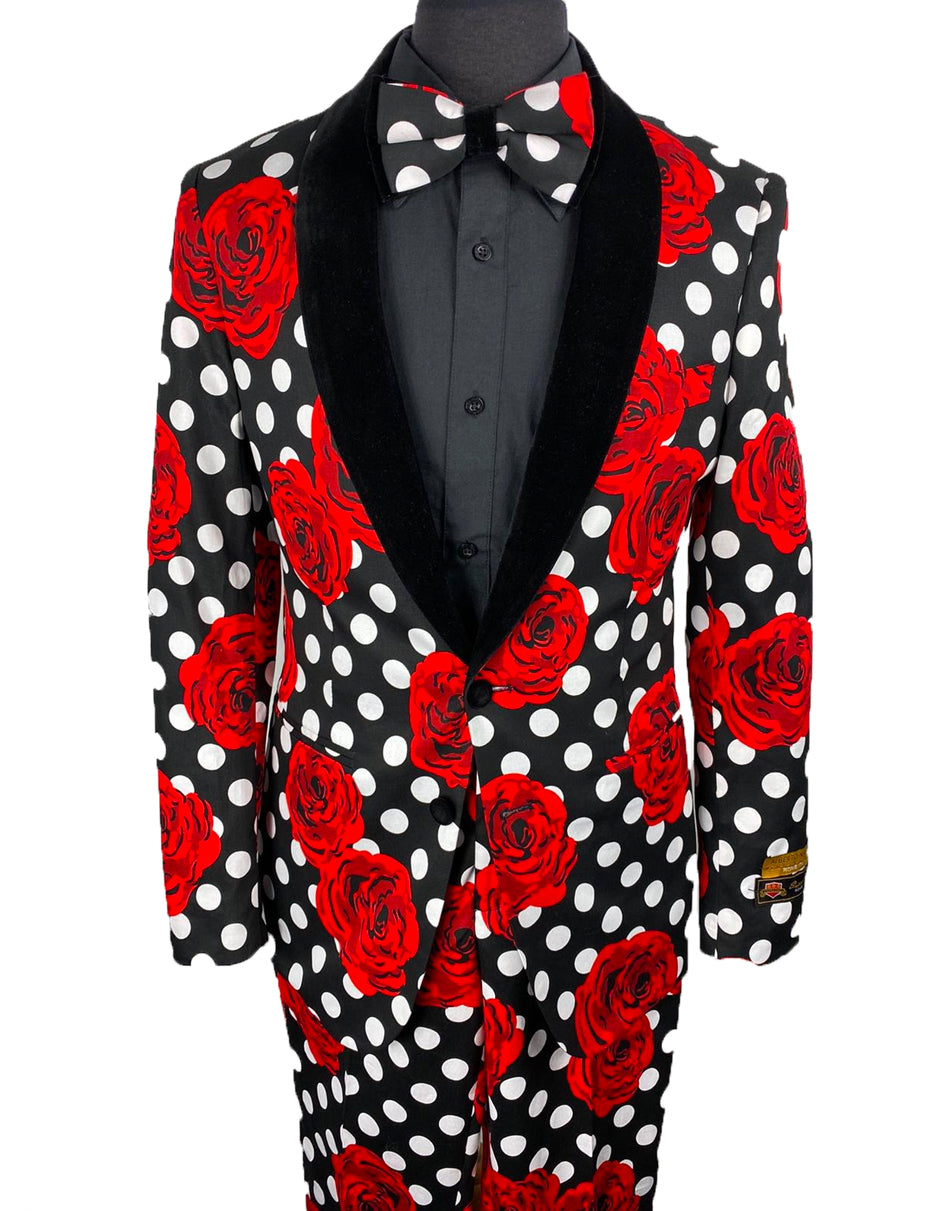 Mens Black & White Polka Dot Prom Tuxedo with Roses Package w/ Matching Pants & Bowtie