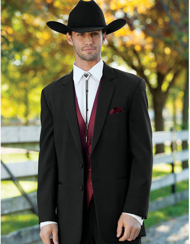 Mens 2 Button Western Cowboy Tuxedo in Black