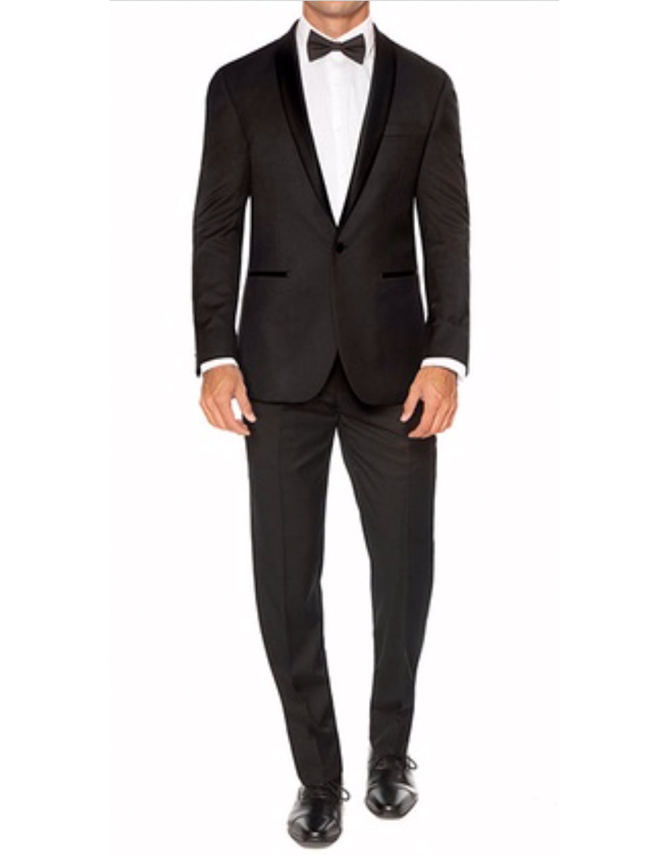Mens 1 Button Slim Fit Shawl Tuxedo in Black