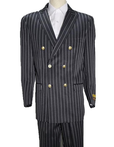 Mens Double Breasted Bold Pinstripe in Black & White