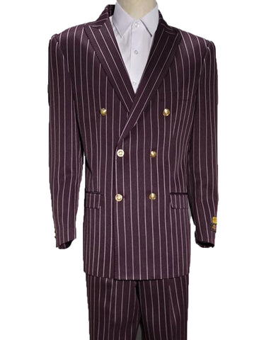 Mens Double Breasted Bold Pinstripe in Burgundy & White