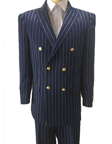 Mens Double Breasted Bold Pinstripe in Navy & Gold
